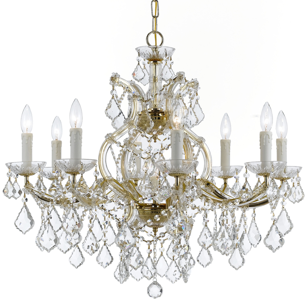 9 Light Gold Crystal Chandelier Dd In Clear Swarovski Strass