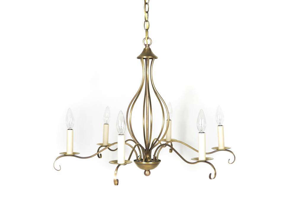 Chandelier hanging with curl antique brass 6 candelabra sockets chandelier hanging with curl antique brass 6 candelabra sockets mozeypictures Image collections